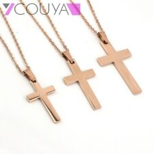 Rose Gold Cross 316L Stainless Steel Pendant Necklace Chain Elegant jewelry Gift