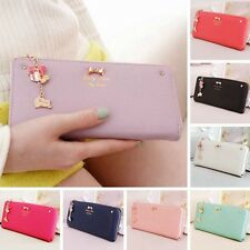Women Bow Pendant Leather Long Wallet Card Purse Handbag Clutch Bag Case Holder