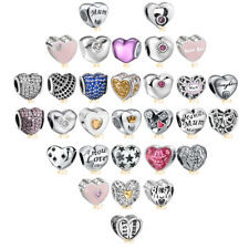 European Silver Charms Bead Fit 925 Pendant Bracelet Chain Jewelry Heart Gifts