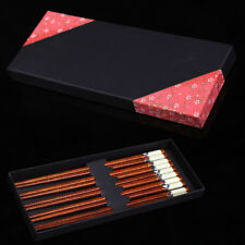 Hand Carved Wooden Chopsticks 5 Pairs Chinese Classic Tableware with Gift Box