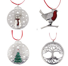 Pewter Christmas Decoration - Tree of Life, Snowman, Christmas Tree or Robin