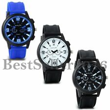 Fashion Mens Quartz Wrist Watch Round Dial Silicone Strap Sport Analog Watches