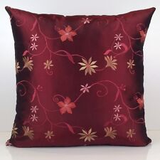 Burgundy Throw Pillow Cover, Decorative Pillow Cover - Silk Floral Embroidery