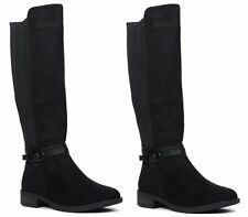 LADIES CALF KNEE HIGH ELASTICATED FAUX LEATHER ZIP BIKER RIDING BOOTS SIZE