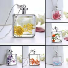 Real Dried Flower Silver Glass Drop Sweater Chain Pendant Necklace Jewelry Gift