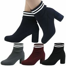 Tessa Womens Mid Thick Block Heel Stripey Sock Ankle Boots Ladies Shoes Size New