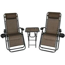 Recliner Lounge Chairs Set Garden Outdoor Yard Side Table Brown Pillow Reclining