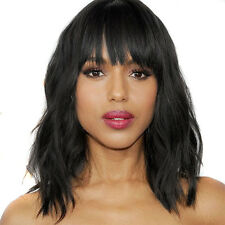 Sexy Short Wavy Wigs with Flat Bangs Natural Black/Brown Synthetic Wig for Women