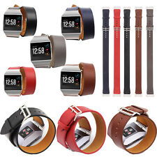 Double Tour Wristband Genuine Leather Watch Band Straps for FITBIT IONIC Tracker