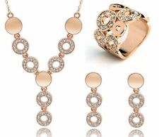 Fashion Gold Silver Jewellery Circles Earring Necklace Ring Set Wedding Prom