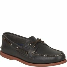NEW Mens SPERRY TOP-SIDER Grey/Red Leather A/O AUTHENTIC ORIGINAL Boat Shoes
