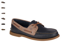 NEW Mens SPERRY TOP-SIDER Navy Stone Leather A/O AUTHENTIC ORIGINAL Boat Shoes