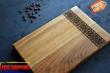 WOODEN CUTTING BOARD ENGRAVED KITCHEN BOARD FOR COOKING 2 SIZE DESIGN PATTERN