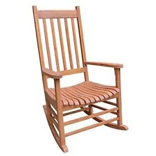 Solid Wood Rocker Chair Porch Rocking Patio Outdoor Oiled Classic Style Furnitur