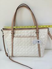 NWT Coach Peyton Signature C Embossed Patent Leather Pocket Tote White Tan New