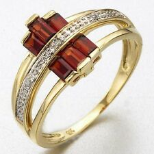 Fashion Red Garnet 18K Gold Filled Woman's Engagement Ring Gift Size 6-10