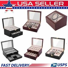 Leather/Wood Automatic Rotation 10/12/20 Watch Winder Storage Case Display Box E