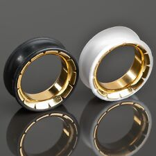 0 5/16-1 1/32in Silicone Steel Gold Flesh Tunnel Plug Double Flared