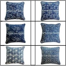 Indian Block Print Canvas Pillow Case 16x16 Indigo Home Decor Sofa Cushion Cover