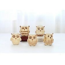 Ceramic Owl Garden Planters 5 Small Indoor Outdoor Flower Pots Yellow Containers