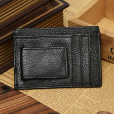 Mens Genuine Leather Cowhide Vintage Card Case Cash Holder Wallet Purse Black