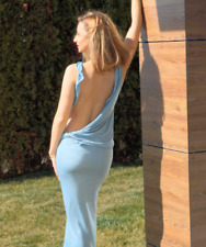 Women's blue backless dress with low back. Sexy open back sundress for women