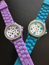 Watch Woman Geneva Silicone Rubber Polka Dot Face Blue and Purple W34