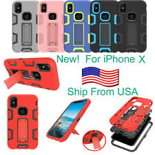 New Shockproof Armor Dual Layer Hybrid Hard Rugged Stand Case Cover For iPhone X