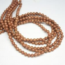 "5 Strand Natural Orange Goldstone Smooth Round Ball Loose Beads 15"" 6mm"