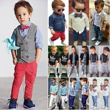Kids Baby Boys Dress Shirts Tops Denim Pants Formal Clothes Outfit Gentleman Set