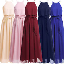 Women's Elegant Halter Long Bridesmaid Dresses Formal Evening Party Prom Gown