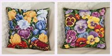 New Unopened Counted Cross Stitch Kit Pillow Flowers Irises, Viola
