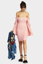 Ladies / Womens Pink Bardot Tie Sleeves Midi Dress Clothing LOTD