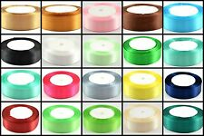 "25 Yards 1"" 25mm Single-faced Satin Ribbon 8 Colors Wedding Party Craft Satin"