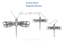 Dragonfly Jewellery - Pendant Necklace - Drop Earrings - St Justin Pewter