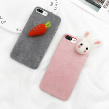 3D Rabbit Carrot Case For iphone 6 6S 7 8 Plus Winter Warm Fuzzy Fashion Soft