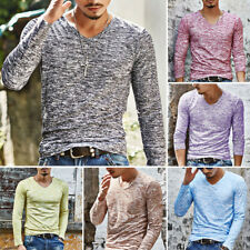 Fashion Men's Slim Long Sleeve V-neck T-shirt Casual Tee Shirt Tops Pullover Hot