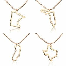 Fashion Beauty Women Hollow-out Gold Map Of USA Pendant Necklace Party Gift