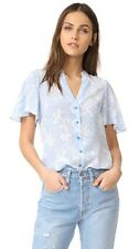 NWT Diane von Furstenberg Silk Flutter Sleeve Blue White V-Neck Blouse Top - 4