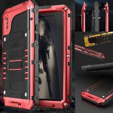 Waterproof Heavy Duty Armor Tempered Glass Metal Case Full Cover For iPhone X 10