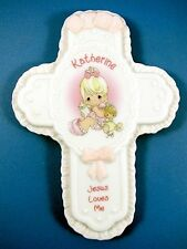 Precious Moments Baby Girl Personalized Porcelain Cross Jesus Wall Plaque