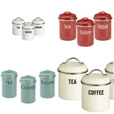 Typhoon Vintage Retro Kitchen Coffee Tea Sugar Canisters Can Tin Container Set