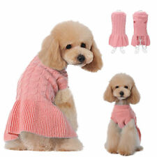 Puppy Small Girl Dog Sweater Clothes Knit Dog Skirt Coat Apparel Sweatershirt