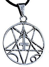 Pentagram 925 Silver Pendant Band inverted cross satan pentagram No 56