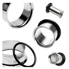 5X(SR 1 Pair Single Flare stainless steel Ear Plugs Rings Tunnel Earlet Piercing