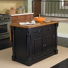 Kitchen Cart Cabinet Storage Wood Top Island Only Distressed Oak Black Finish