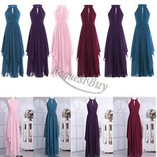 Womens Long Chiffon Maxi Evening Formal Halter Prom Christmas Party Dress Gown
