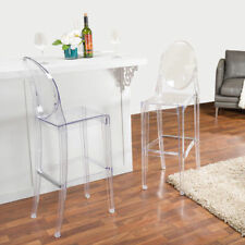 pc High Chair Transparent Clear Dining Restaurant Kitchen Bar Stool Ghost Chair