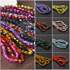 Mixed 3mm/4mm Half Plated Bicone Faceted Crystal Glass Loose Spacer Beads Lot