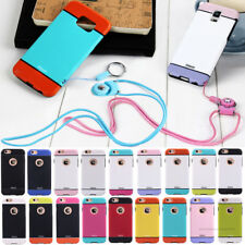 Cute Neck Strap Rope Colorful Smooth TPU Rubber+PC Case Cover For Samsung Galaxy